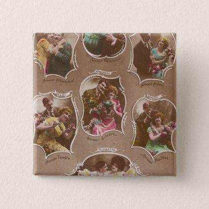 Vintage French Postcard Romance La Semaine Pinback Button - engagement gifts ideas diy special unique personalize