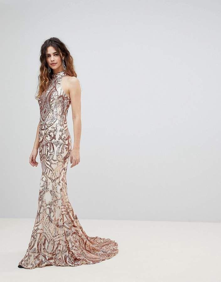 aad0662cb3f1 Bariano High Neck Embellished Maxi Dress #affiliate   Weddings ...