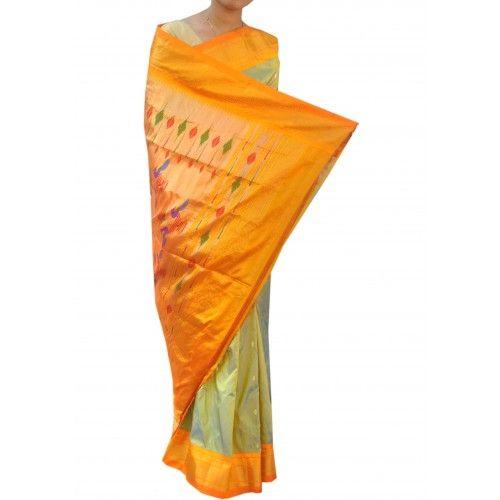 Irresistible Celadon With Yellow Border Paithani Saree
