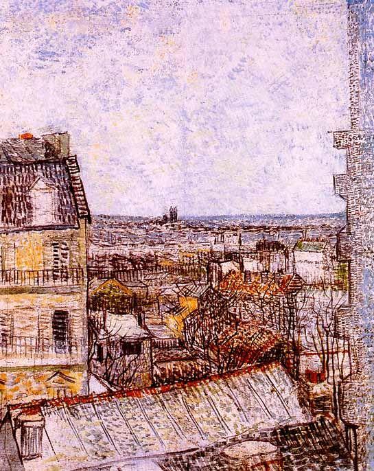 Vincent Van Gogh - Post Impressionism - Paris - Vue de Paris de la chambre de V.Van Gogh, rue Lepic.
