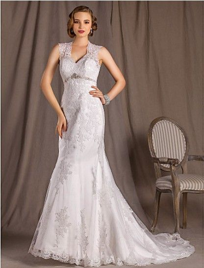 Gorgeous A-line Princess V-neck Court Train Lace Satin And Tulle #Wedding Dress WAL07264-LT