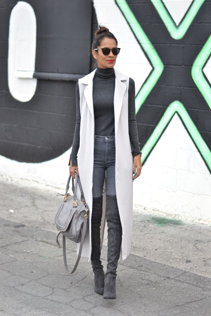 All grey outfit Grey duster, grey over the knee boots