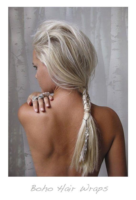 Bohemian Tribal Leather Braiding Hair Wrap, Soft natural cream white crystal, Hair Braiding Wrap, Thread Wraps, Hair Bun Wrap, Ponytail Wrap...
