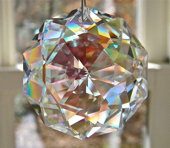 "Swarovski Dahlia Crystal Suncatcher, Rainbow Maker w/ 38mm (1.5"") Swarovski ab Crystal Pendant, Swarovski AB Crystal Strand-""DARLING DAHLIA"""