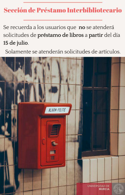 Aviso Préstamo Interbibliotecario. Verano 2016