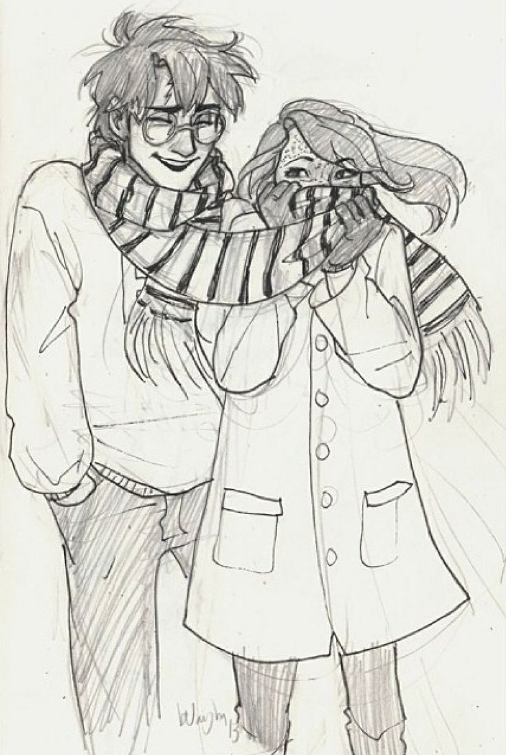 Harry and Ginny in the cold. Adorable. :) Art by burdge bug