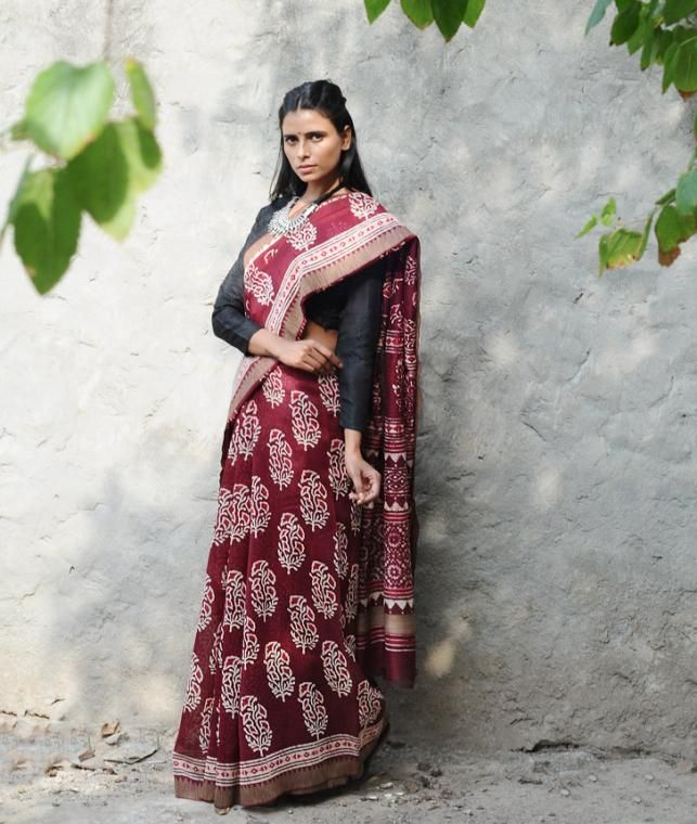 Buy A Season for Dabu Curated by Jaypore Dabu-printed Chanderi sarees and dupattas with zari and Ghicha borders Online at Jaypore.com