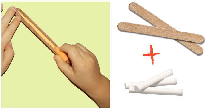 Graphisme Petite Section Les lignes avec Bâtonnets et craies. Apprendre le geste vertical, horizontal ou oblique en traçant sur les bâtonnets avec de la craie.