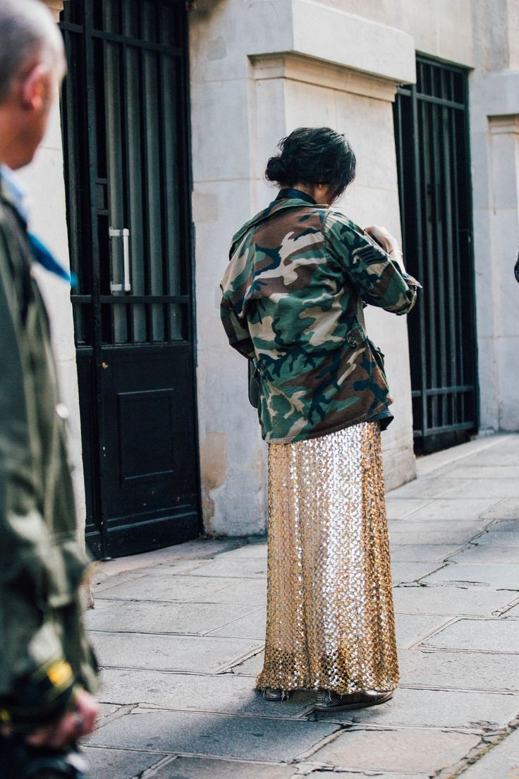 Sequin skirt. Camo jacket. Paris