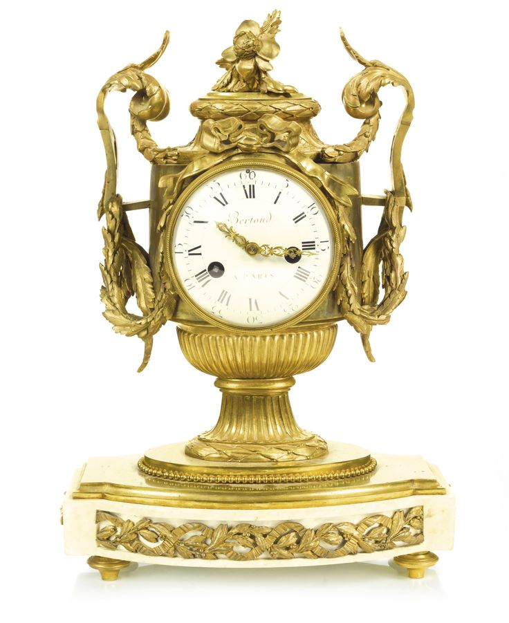 date unspecified A gilt-bronze and white marble mantel clock, French, late 18th century, movement and case associated 2,000 — 3,000 GBP 3,084 - 4,625USD. Unsold