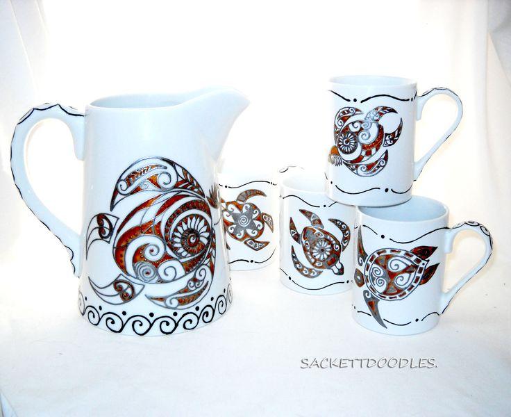 Spirit Turtle Pitcher and Spirit Turtle Mug Hand Painted Porcelain Serveware, Aztec Totem Art