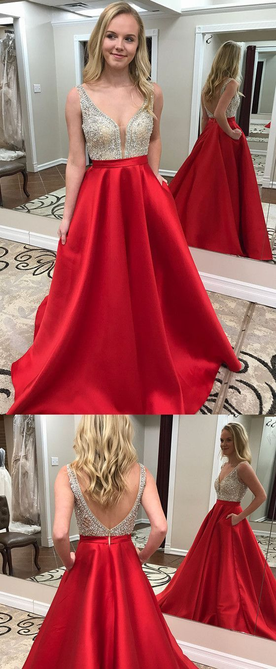d848b2c305c A-line Deep V-neck Beading Long Backless Prom Dress