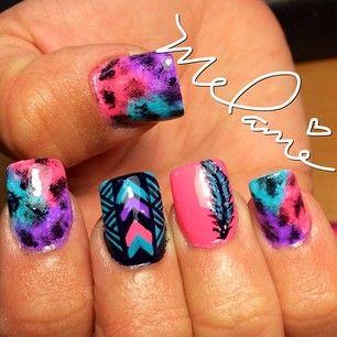 pink teal purple black nails