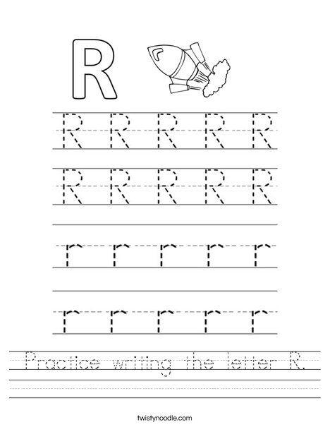 practice writing the letter r worksheet twisty noodle school related writing practice. Black Bedroom Furniture Sets. Home Design Ideas