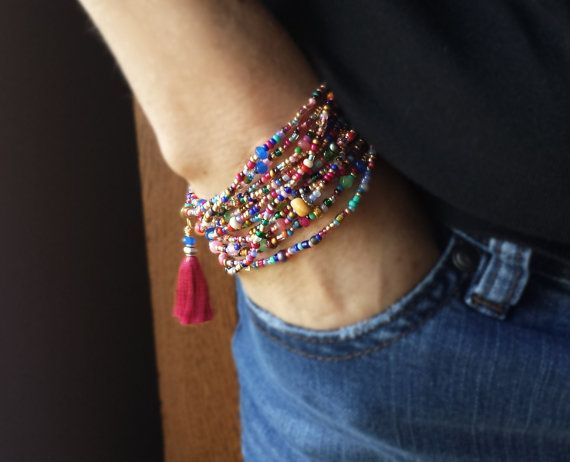 Festiival Colors! A long strand of beautiful beads you can wrap around your wrist, ankle or neck. This design includes colorful faceted Jade, Cherry