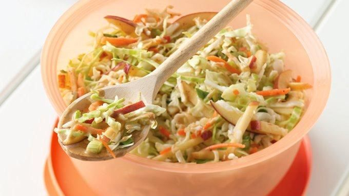 HOney Mustard Coleslaw with Apples - No shredding required! Slaw mix makes it oh-so-simple.