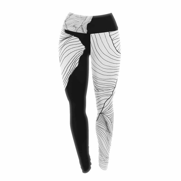 "Viviana Gonzalez ""Lines In The Mountains"" Black White Mixed Media Yoga Leggings from KESS InHouse"