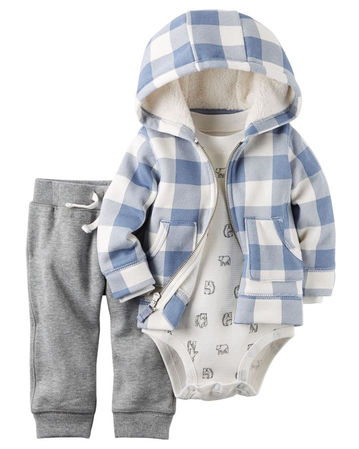 Featuring a cozy fleece cardigan, this 3-piece set is complete with coordinating fleece pants and a thermal cotton bodysuit.