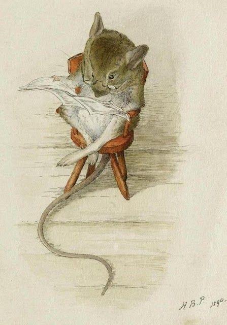 "Nadie hace más visual la #literatura que Beatrix Potter, ""The bespectacled mouse"", 1890 #dibujos"