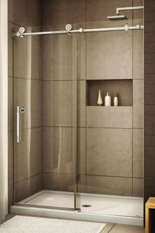 glass shower with sliding glass door love recessed storage large tiles and different color
