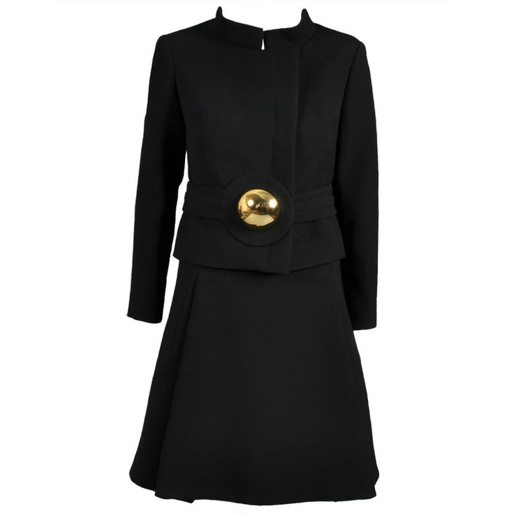pierre cardin 1960s wool suit with gold brooch - Pierre Cardin Costume Mariage
