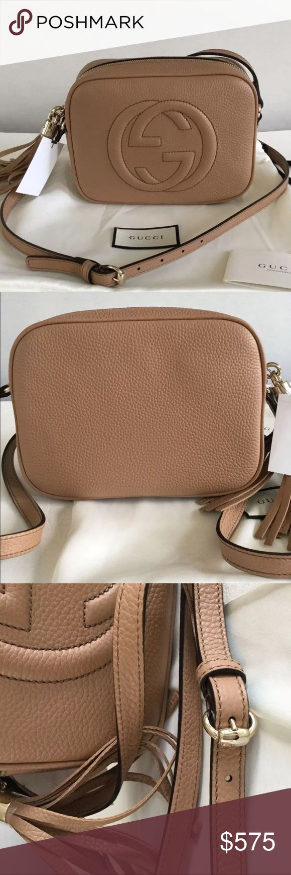 Beige Gucci SoHo Disco Bag 100% Authentic 🔺 We are a very negotiable service 🔺 We provide overnight shipping and express shipping 🔺 Our transactions are made through third party applications 🔺 If you are interested in buying this product please contact us via 646-431-6521 🔺 Gucci Bags Crossbody Bags