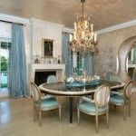 Formal dining room with soft blue color idea for romantic look.