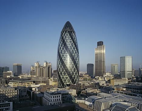 the Gherkin in London is one of the world' s most unusual buildings, as it is shaped like an egg, but it is a skyscraper that can be found in the middle of London's financial headquarters.