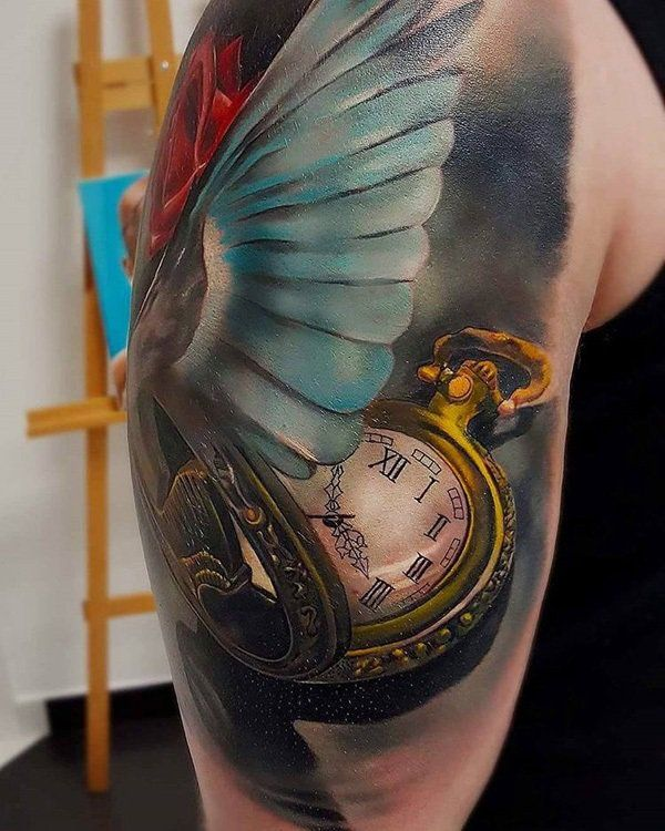 3D Pocket watch and wing tattoo - 100 Awesome Watch Tattoo Designs