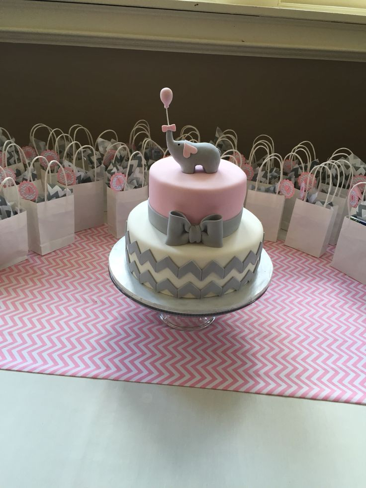 Pink and gray chevron elephant cake! | Baby Shower ...