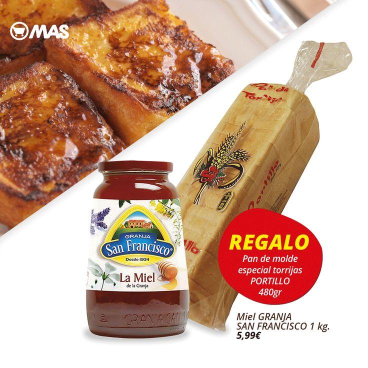 ¿Ya has preparado las torrijas de Semana Santa? Aquí tienes un pack en oferta: por la compra de miel Granja San Francisco (1kg), pan de torrijas Portillo de regalo!