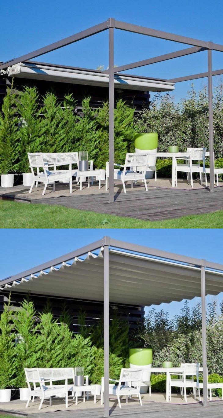 Pre hliníkovú pergolu Exyl je typický minimalizmus a tak nechá dokonale vyniknúť vašu záhradku.