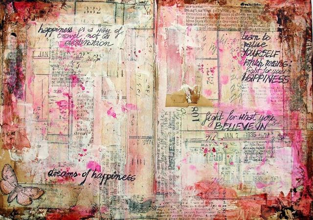 KOLOROWY ptak: art journal -tim holtz tissue tape background http://kolorowyptak.blogspot.com/2013/03/dreams-of-happiness.html