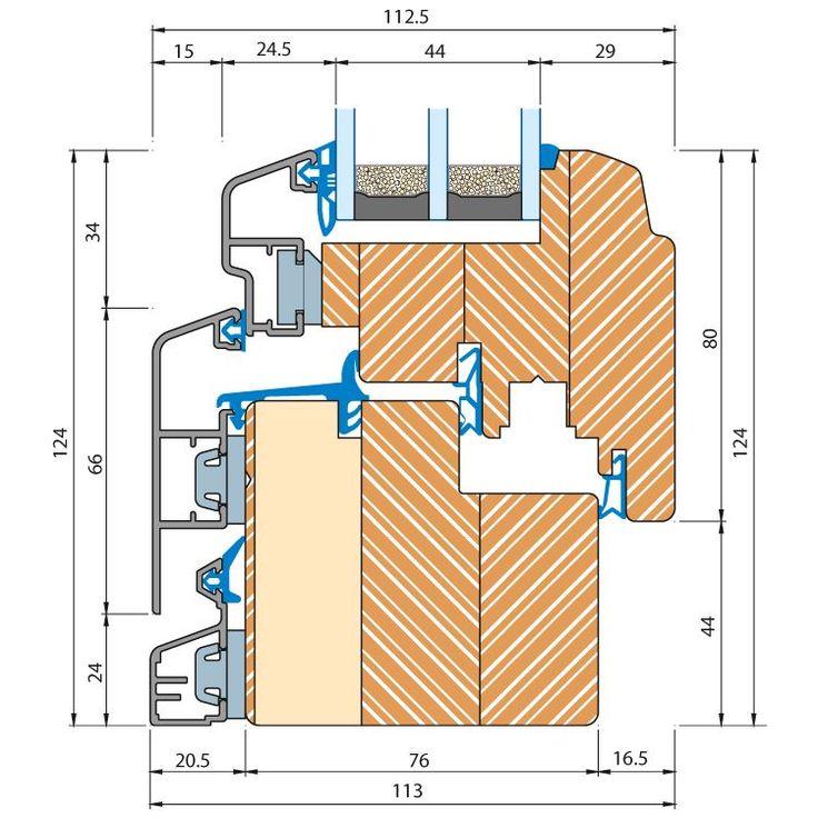 Holz-Alu Fenster ECO Idealu - Profilschnitt