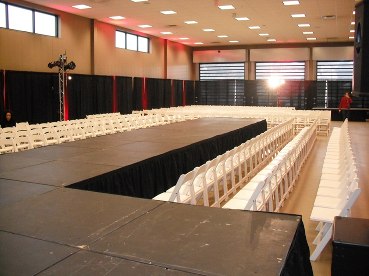 Who said a stage had to be square? We made a catwalk for a fashion show!