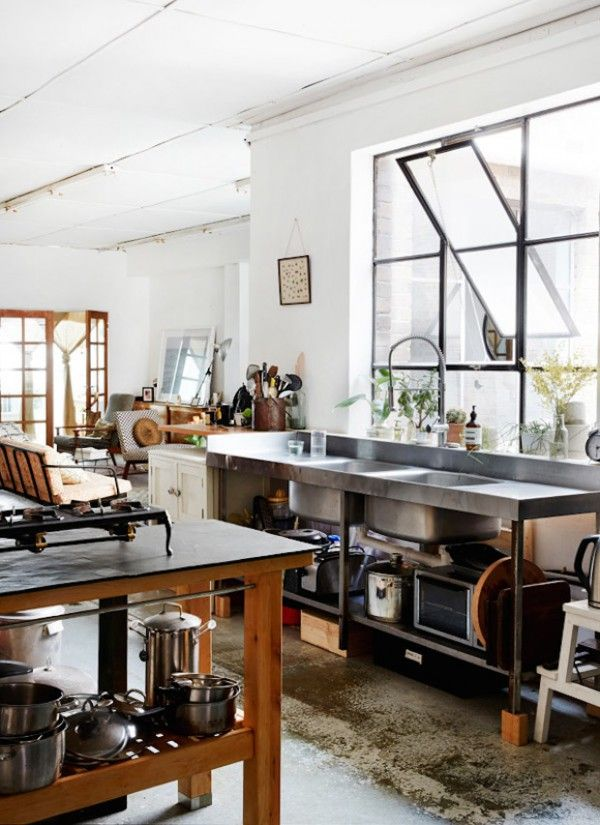 Loft industrial rustic kitchen, factory windows, concrete floor, restaurant sink - Kate-Ratner-Michael-Tait-loft-1