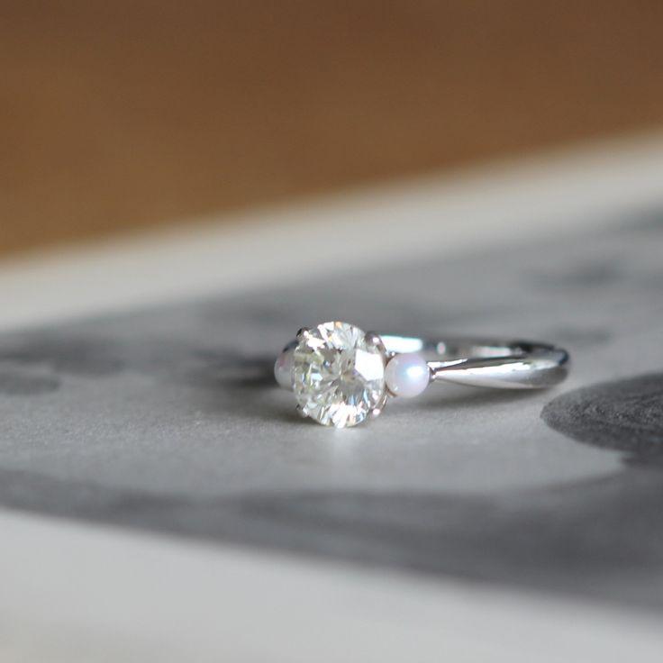 ダイヤとパールのオーダーメイド手作り婚約指輪  [ エンゲージリング ダイヤモンド diamond ウエディング wedding pearl ]