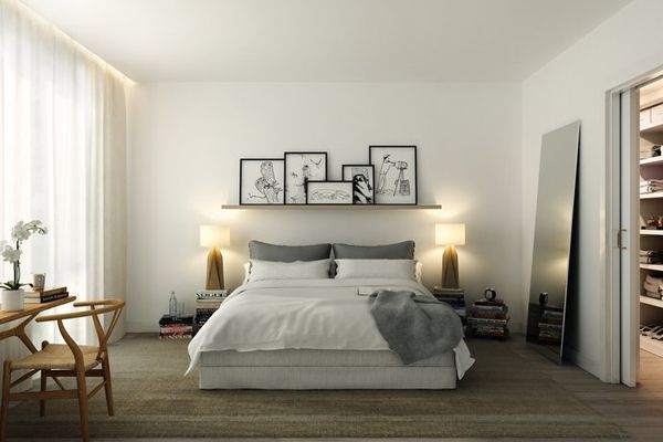 60 Unbelievably inspiring small bedroom design ideas I like the shelf and the leaning mirror.