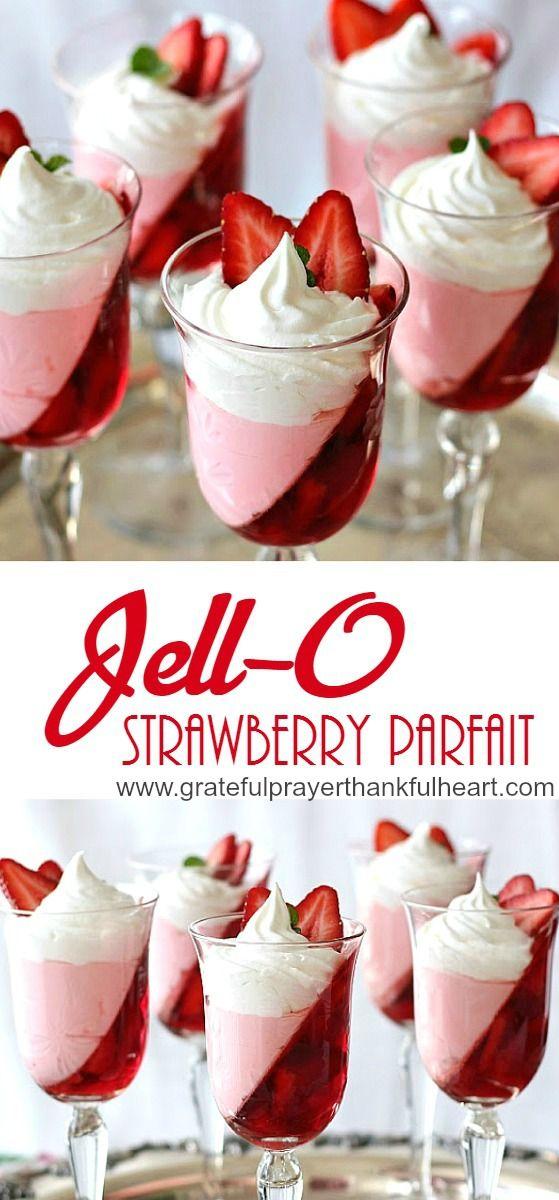 Low Calorie, Super pretty Strawberry Jello parfait dessert