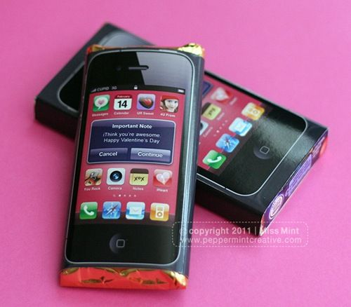 iphone candy bar wrapper. Change the saying to Be as quick to pray as you are to text.