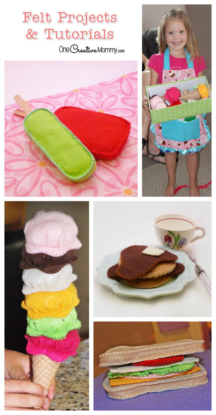Felt Food Tutorials from OneCreativeMommy.com {Be careful! Once you start making felt food, you won't be able to stop. It's so fun!}