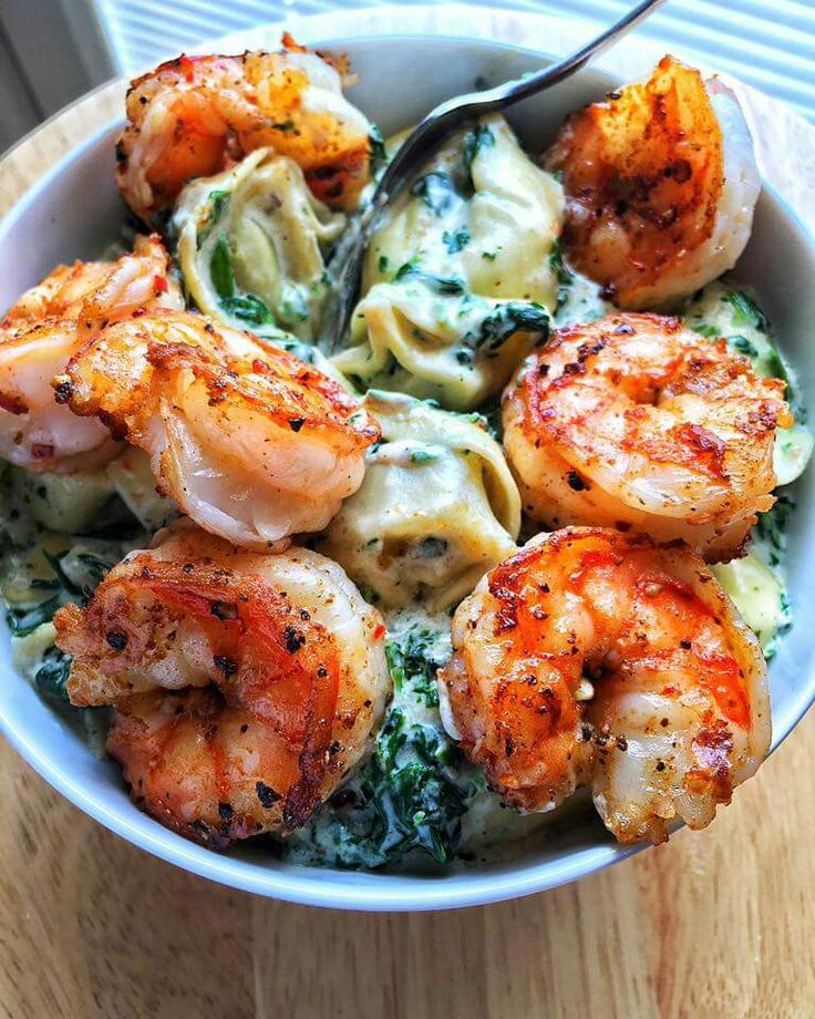 Creamed Spinach Tortellini with Old Bay Shrimp. The recipe is at DariusCooks.com.