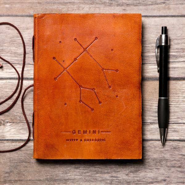 Gemini Leather Journal / Zodiac Handmade Journal / Journal of Astrology / Horoscope Journal / Gifts for Him / Travel Journal / Sketchbook / Embossed Genuine Leather Journal / Notebook