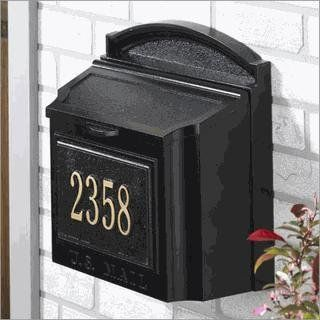 Whitehall 16103 Black Whitehall - Personalized Wall Mailbox by Whitehall. $195.46. This sturdy metal box is topped by a graceful arch for an elegant look and features a flip-up lid for easy access. The width of the mailbox can easily accommodate magazines, catalogs, or oversized envelopes without bending them. Customize the box with the