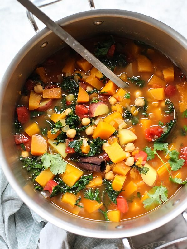 Moroccan Soup with Kale and Chickpeas Plus 5 Vegetarian Soups That Even Meat Eaters Will Love - foodiecrush