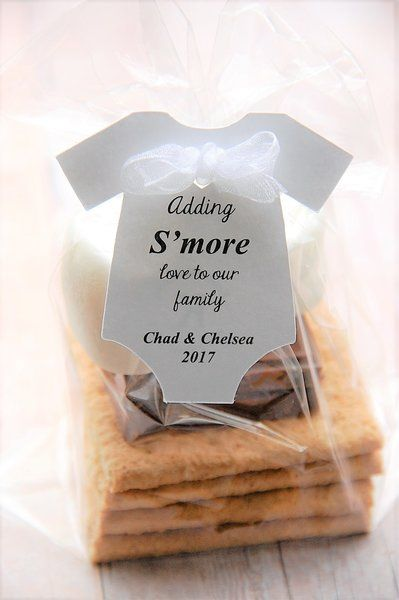 Adding S'more love to our family! A cute way to thank your guests for coming to your baby shower! Smore Onesie shaped party favor gift tags at www.kendollmade.com