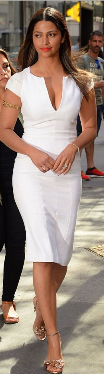 Who made Camila Alves' white short sleeve dress and gold sandals? (OutfitID)