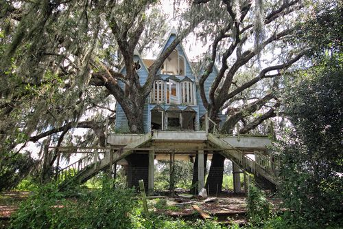 Don't like the style of the house but something with a platform (porch) in the trees out back maybe