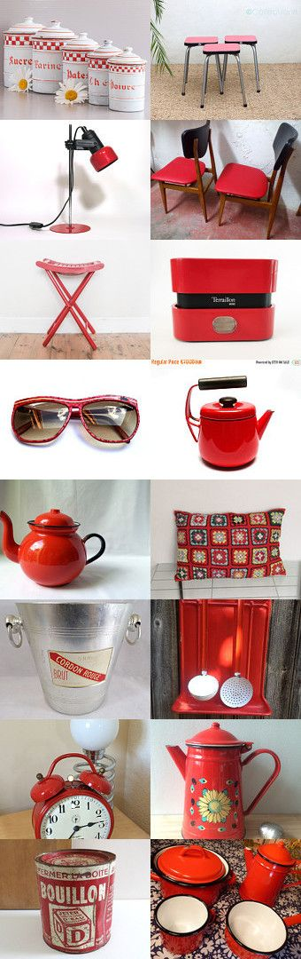 All red items from The Vintage France Team by LaBourgognedeNath on Etsy