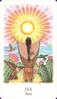 Vision Quest Tarot    Romanticised Native American theme decks are fairly common, but this one has particularly beautiful artwork that is deep, soft and gorgeously coloured.